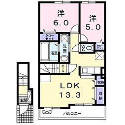 シルフィード 2階2LDKの間取り