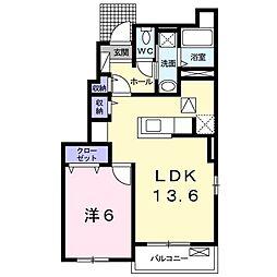 Comorebi B 1階1LDKの間取り