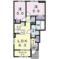 ブリーズ R 1階2LDKの間取り