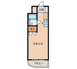 メゾン・ド・リテレール 3階ワンルームの間取り
