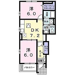 フィオーレ・2011B 1階2DKの間取り