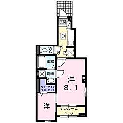 ドミール南仙台 1階1Kの間取り