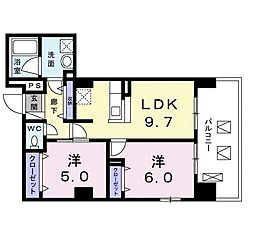 JR仙石線 仙台駅 徒歩8分の賃貸マンション 5階2LDKの間取り