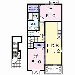 フィオーレ岡山III 2階2LDKの間取り