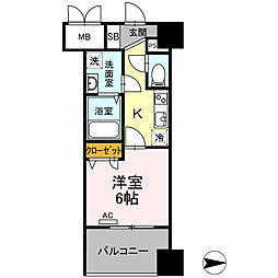 Trio Mare 蔵前(トリオマーレクラマエ) 3階1Kの間取り