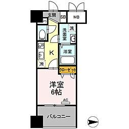 Trio Mare 蔵前(トリオマーレクラマエ) 4階1Kの間取り