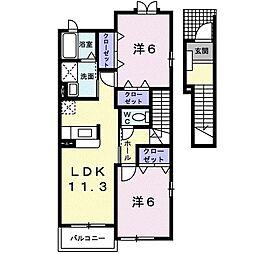 アンソレイエIII 2階2LDKの間取り