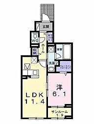 ベルウッド II 1階1LDKの間取り
