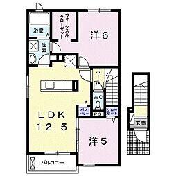 スローライフ K I 2階2LDKの間取り