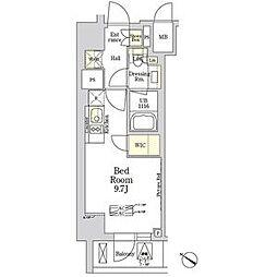都営大江戸線 麻布十番駅 徒歩7分の賃貸マンション 1階ワンルームの間取り