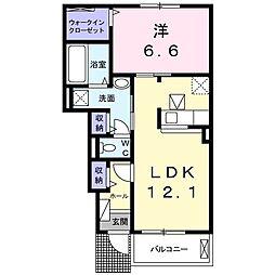 カルムIII 1階1LDKの間取り