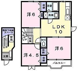 スプリングヒルハイツI 2階3LDKの間取り