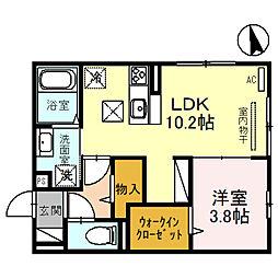 阪急宝塚本線 石橋阪大前駅 徒歩12分の賃貸アパート 1階1LDKの間取り