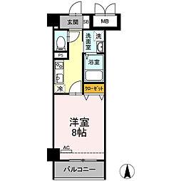 小田急小田原線 小田原駅 徒歩10分の賃貸マンション 1階1Kの間取り