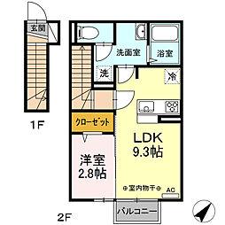 ヴィラージュ松屋 2階1LDKの間取り