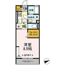 (仮)D-room中央町 1階1Kの間取り