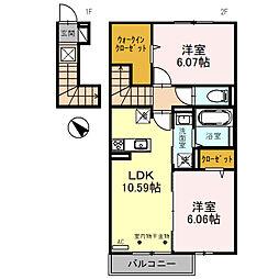 D-roomBrlliant(ディールームブリリアント) 2階2LDKの間取り