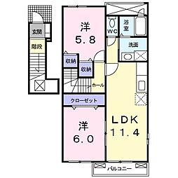 セレッソ 2階2LDKの間取り
