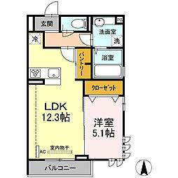 湘南新宿ライン宇須 新川崎駅 徒歩18分の賃貸アパート 2階1LDKの間取り