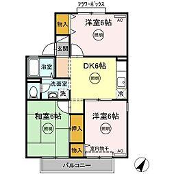 グレイスUJIKE B棟 2階3DKの間取り