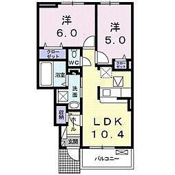 サニーレジデンスI 1階2LDKの間取り