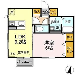 仮)D-roomよしわら A 1階1LDKの間取り