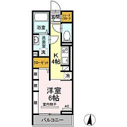仮称)D-room東朝日町 2階1Kの間取り