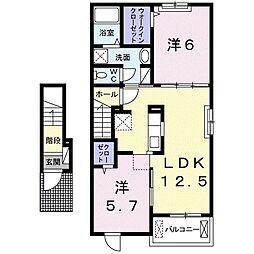 蓮町ヴィレッジI 2階2LDKの間取り
