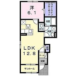 プリート アンリ II 1階1LDKの間取り