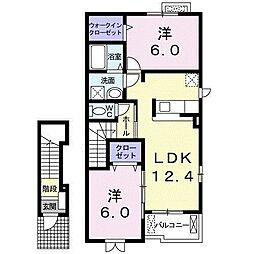 レイクヒル・ハウス 2階2LDKの間取り