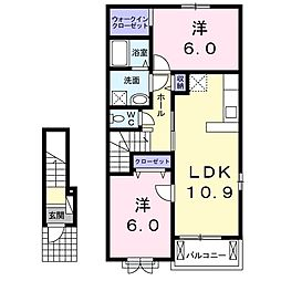 パル・ブローテB 2階2LDKの間取り