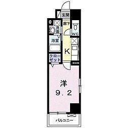 シティタワー 高崎 6階1Kの間取り