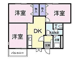 リュミエールA 1階3DKの間取り