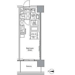 JR山手線 田町駅 徒歩7分の賃貸マンション 13階1Kの間取り