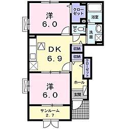 Y.H シーザリオ 1階2DKの間取り