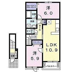 グランドソレーユIII 2階2LDKの間取り