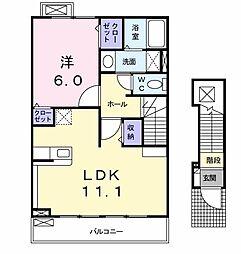 クラウン 2階1LDKの間取り