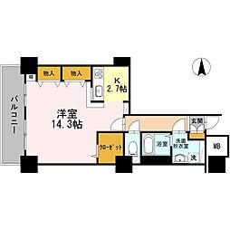 品川シーサイドビュータワー I 28階1Kの間取り