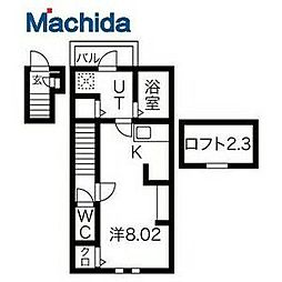 JR阪和線 浅香駅 徒歩3分の賃貸アパート 2階1Kの間取り