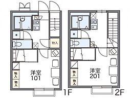 レオパレスファミーユ 2階1Kの間取り