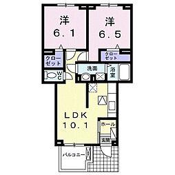 ジェルメ・スクエア II 1階2LDKの間取り