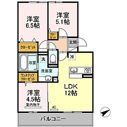 セリシール A棟 2階3LDKの間取り