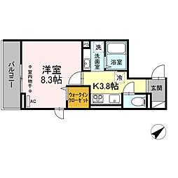 多摩都市モノレール 大塚・帝京大学駅 徒歩4分の賃貸アパート 3階1Kの間取り