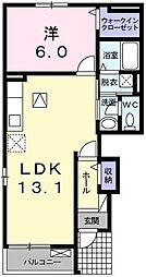 ベル・フィオーレI 1階1LDKの間取り