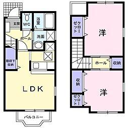 セレーノI 1階2LDKの間取り