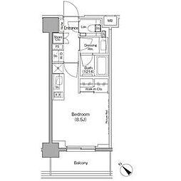 ザ・パークハビオ月島フロント 4階ワンルームの間取り