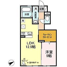 ミキKハウス 1階1LDKの間取り