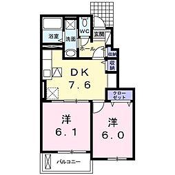 ラ・パルフェ B 1階2DKの間取り