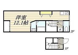 東急東横線 自由が丘駅 徒歩5分の賃貸アパート 2階ワンルームの間取り