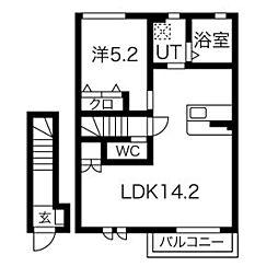仮称)松戸市千駄堀新築賃貸住宅 2階1LDKの間取り
